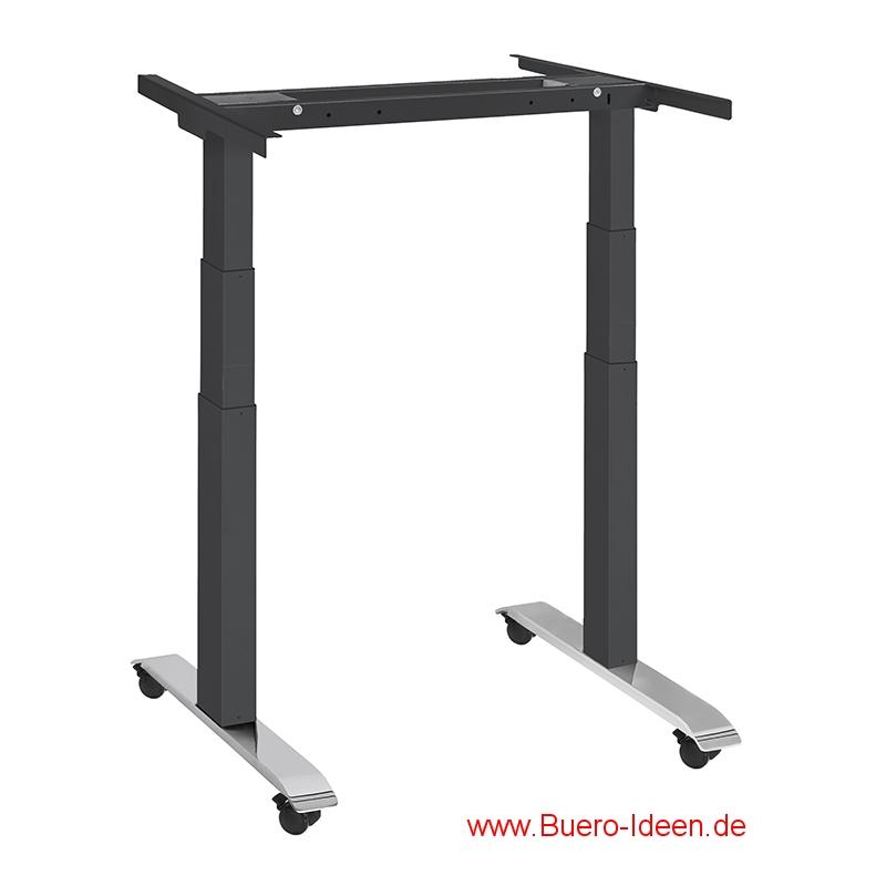 ergonomischer Elektrisch höhenverstellbarer Schreibtisch mit Akku und mit Rollen Modell ergon mini-master hier mit Gestell schwarz ohne Tischplatte