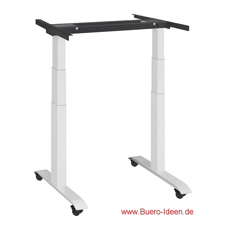 ergonomischer Elektrisch höhenverstellbarer Schreibtisch mit Akku und mit Rollen Modell ergon mini-master hier mit Gestell weiß