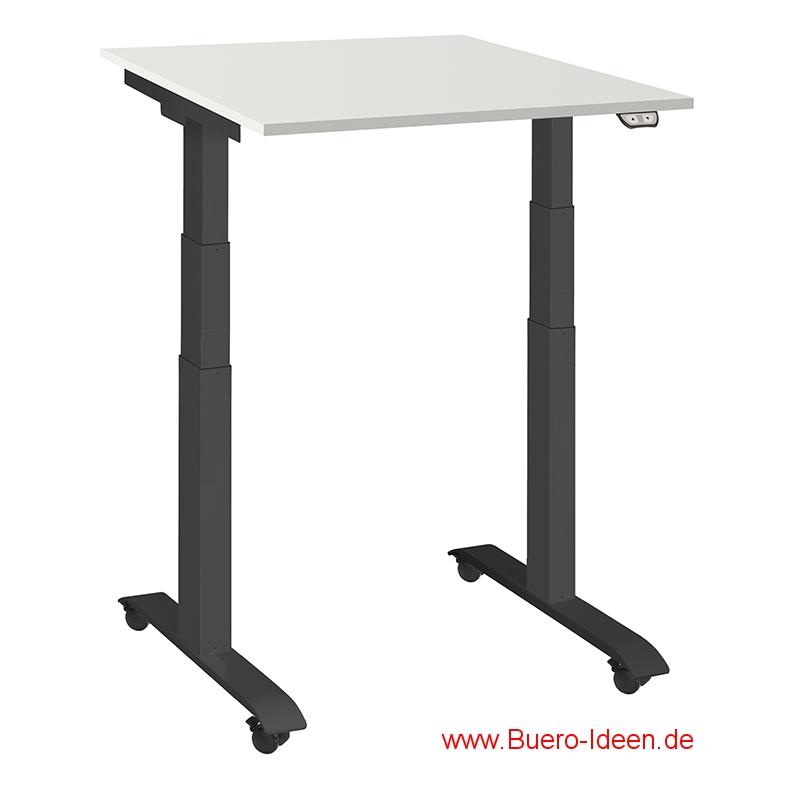 ergonomischer Elektrisch höhenverstellbarer Schreibtisch mit Akku und mit Rollen Modell ergon mini-master hier mit Gestell schwarz und Tischplatte lichtgrau