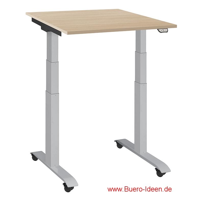 ergonomischer Elektrisch höhenverstellbarer Schreibtisch mit Akku und mit Rollen Modell ergon mini-master hier mit Gestell silber weißaluminium und Tischplatte Buche-Dekor