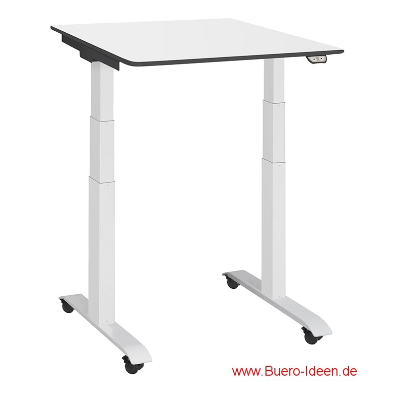 ergonomischer Elektrisch höhenverstellbarer Schreibtisch mit Akku und mit Rollen Modell ergon mini-master hier mit Gestell weiß und Tischplatte weiß mit schwarzen Kanten