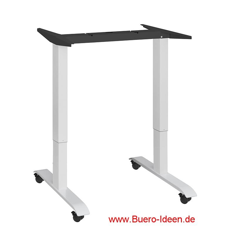 ergonomischer Elektrisch höhenverstellbarer Schreibtisch mit Akku und mit Rollen Modell ergon mini-Project-1 hier mit Gestell weiß und Tischplatte weiß