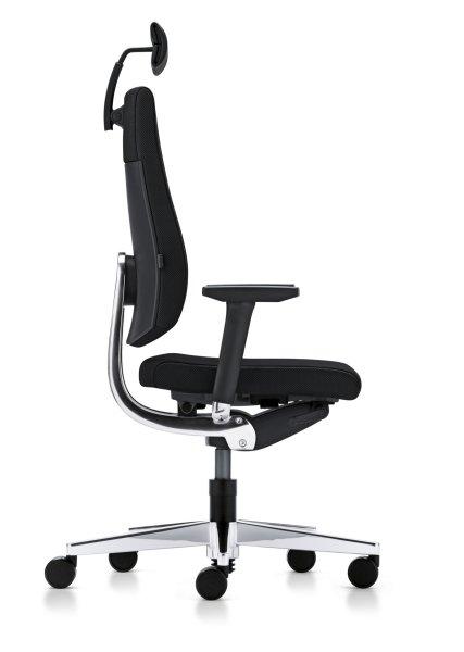 Der Blaue Engel für sedus Black-Dot - hier sedus black dot BD-103 ergonomischer BüroDrehstuhl mit Kopfstütze Seitenansicht ergonomisch geformte SoftPolsterrückenlehne