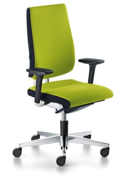 Der Blaue Engel für sedus Black-Dot - hier sedus black dot BD-103 ergonomischer BüroDrehstuhl ohne Kopfstütze Frontansicht ergonomisch geformte SoftPolsterrückenlehne