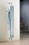 D-Tec Pacific Garderoben Modelle ergänzt - hier Pacific-504 satiniert Drehspiegel-Garderobe mit großem drehbarem Spiegel bei buero-ideen.de/webshop